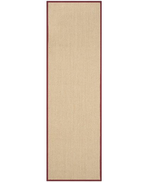 "Safavieh Natural Fiber Maize and Burgundy 2'6"" x 12' Sisal Weave Runner Area Rug"