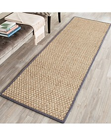"Natural Fiber Natural and Dark Grey 2'6"" x 12' Sisal Weave Runner Area Rug"