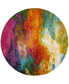"Watercolor Orange and Green 6'7"" x 6'7"" Round Area Rug"