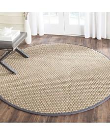 Safavieh Natural Fiber Natural and Dark Gray 10' x 10' Sisal Weave Round Area Rug