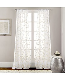 """2 Pack 37"""" x 84"""" Embroidered Sheet Panel Curtains"""