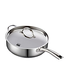 """5 Quart 11"""" Classic Stainless Steel Deep Saute Pan with Lid"""