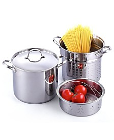 Cooks Standard Classic 4-Piece 12 Quart Pasta Pot Cooker Steamer Multipots, Stainless Steel