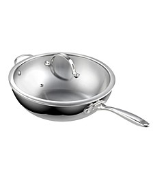 """12"""" Multi-Ply Clad Stainless Steel Wok Stir Fry Pan with Glass Lid, 30cm"""
