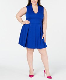 City Studios Trendy Plus Size Plunge-Neck Skater Dress