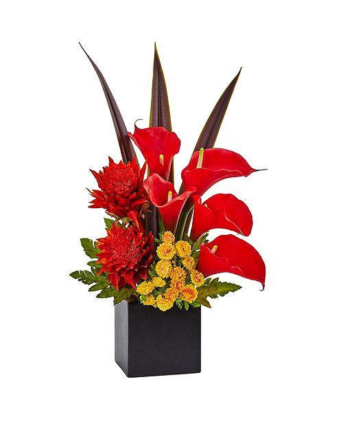 Nearly Natural Tropical Floral and Calla Lily Mixed Silk Arrangement