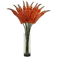 Fox Tail Artificial Arrangement in Glass Cylinder Vase