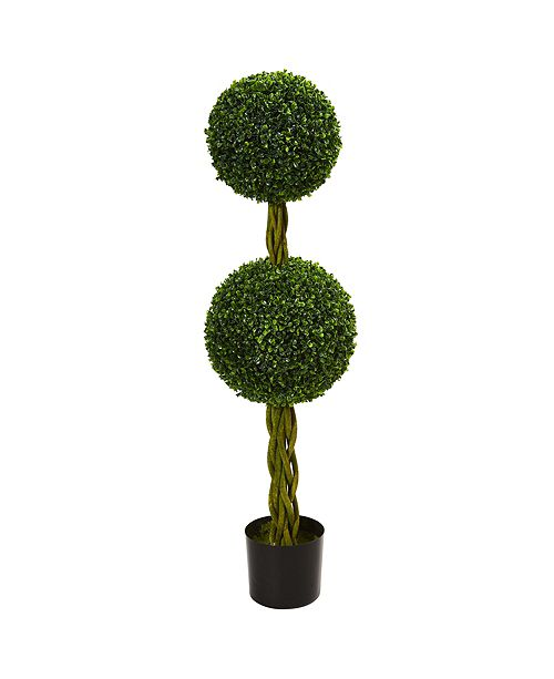 Nearly Natural 4' Boxwood Double Ball Artificial Topiary Tree w/Woven Trunk, UV Resistant