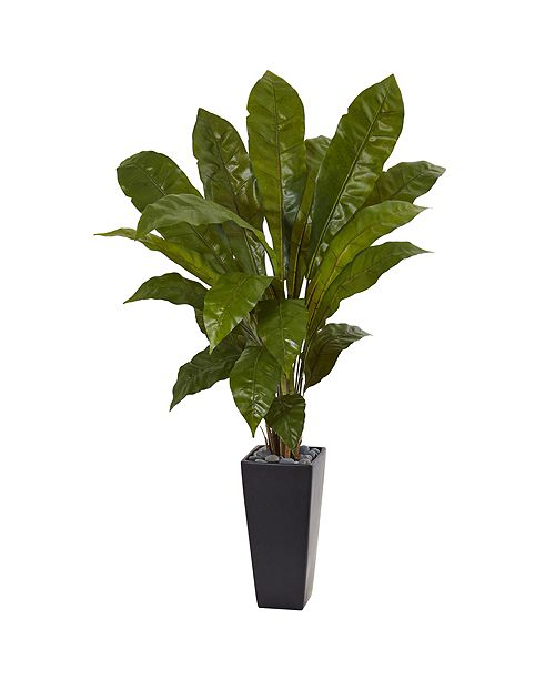 Nearly Natural 4.5' Bird's Nest Fern Artificial Plant in Black Tower Planter