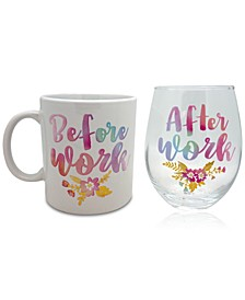 Before Work & After Work Watercolor 18oz. Ceramic Mug & 22oz. Stemless Wine Glass Set