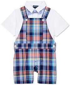 Nautica Baby Boys 3-Pc. Shirt, Plaid-Print Shortalls & Bowtie Set