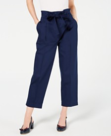 Marella Tie-Belt Paper Bag Pleated Pants