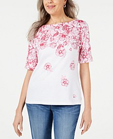 Floral-Print Boatneck Top, Created for Macy's