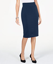 Alfani Petite Wide-Waistband Curvy Scuba Pencil Skirt, Created for Macy's