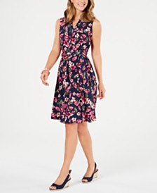 Charter Club Belted Floral-Print A-Line Dress, Created for Macy's