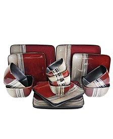 Downtown Loft 16 Piece Double Bowl Stoneware Dinnerware Set