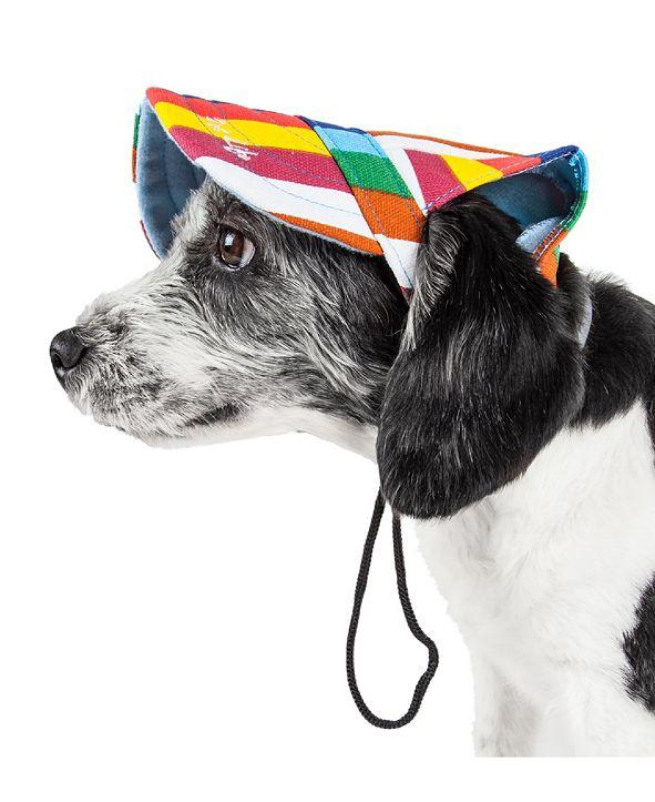 Pet Life Central Pet Life 'Colorfur' Floral UV Protectant Adjustable Fashion Dog Hat Cap