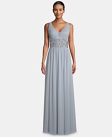 Betsy & Adam V-Neck Illusion-Waist Gown