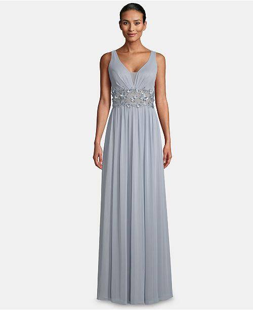 29ff98e01337 Betsy & Adam V-Neck Illusion-Waist Gown & Reviews - Dresses - Women ...