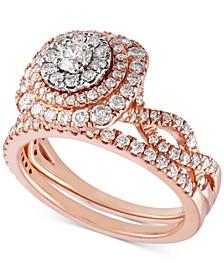 Diamond Multi-Halo Twist Bridal Set (1-1/3 ct. t.w.) in 14k Rose Gold & 14k White Gold