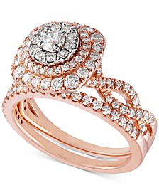 Diamond Multi-Halo Twist Bridal Set (1-1/3 ct. t.w.) in 14k Rose Gold & 14k White Gold