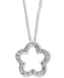 "EFFY® Diamond 18"" Clover Pendant Necklace (1/10 ct. t.w.) in 14k White Gold"