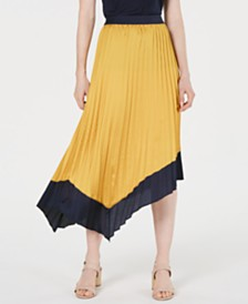 Bar III Asymmetrical Tipped Pleated Midi Skirt, Created for Macy's