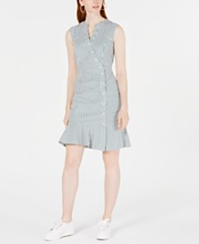 Bar III Striped Flounce-Hem Wrap Dress, Created for Macy's
