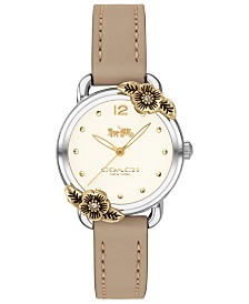 COACH Women's Delancey Tea Rose Stone Leather Strap Watch 28mm