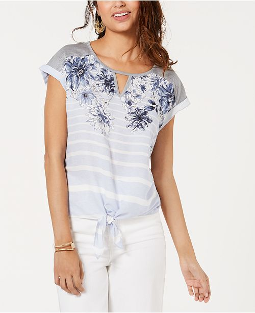 BCX Juniors' Printed Tie-Front Top
