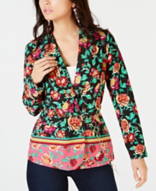 Thalia Sodi Floral Belted Blazer, Created for Macy's