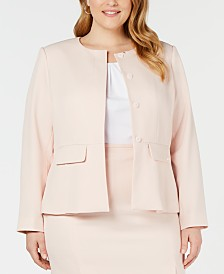 Calvin Klein Plus Size Peplum Twill Jacket