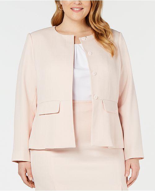 Calvin Klein Plus Size Peplum Twill Jacket & Reviews - Jackets ...