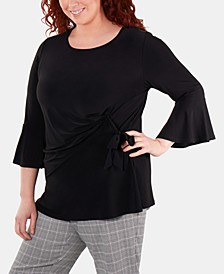 Plus Size Bell-Sleeve Side-Tie Top