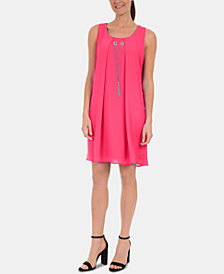 NY Collection Petite Keyhole-Back Dress with Necklace