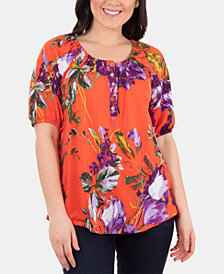NY Collection Petite Printed Scoop-Neck Peasant Top