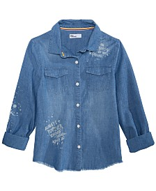 Epic Threads Big Girls Cotton Denim Graffiti Shirt
