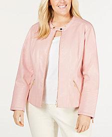 Calvin Klein Plus Size Faux-Leather Moto Jacket