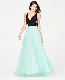 Juniors' X-Detail & Mesh Skirt Gown
