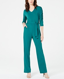 920b7ae5b63 NY Collection Petite Solid Belted Jumpsuit