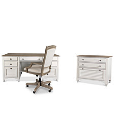York Two-Tone Home Office, 3-Pc Furniture Set (Two-Tone Executive Desk, Upholstered Desk Chair & Lateral File Cabinet)