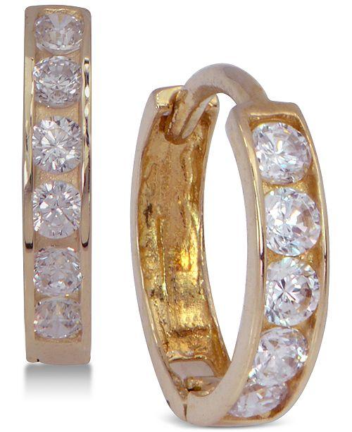Macy's Cubic Zirconia Hoop Earrings in 10k Gold