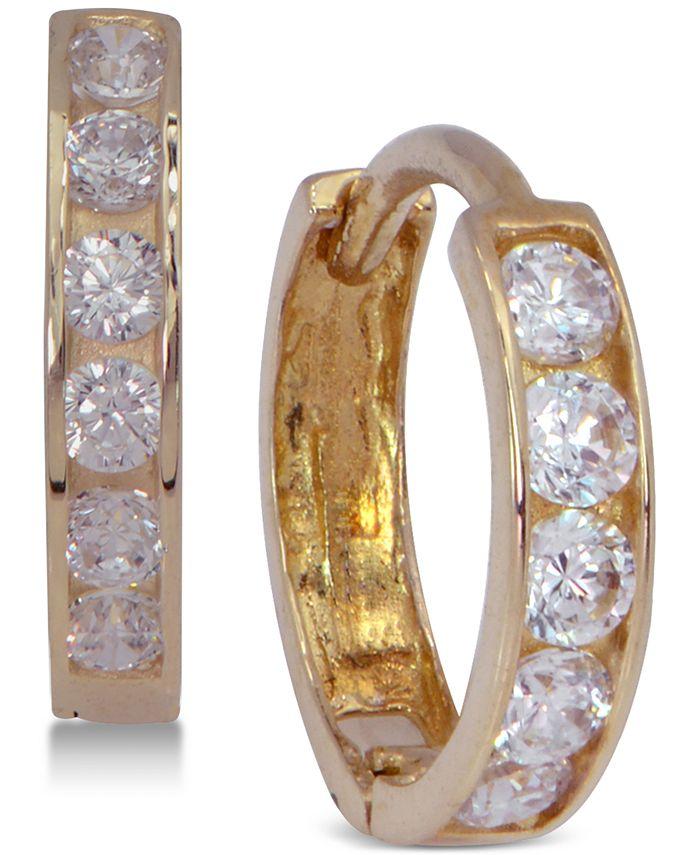 Macy's - Cubic Zirconia Hoop Earrings in 10k Gold