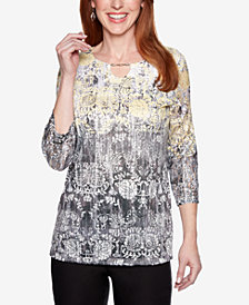 Alfred Dunner Petite Native New Yorker Floral Print Top
