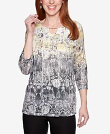 Alfred Dunner Native New Yorker Keyhole-Neck Top