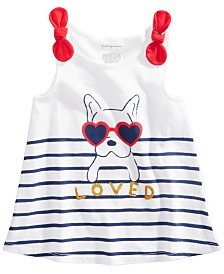 First Impressions Baby Girls Dog Graphic Striped Tunic, Created for Macy's