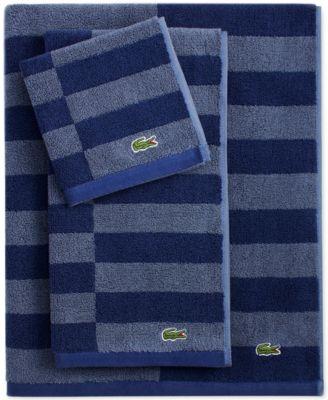 """Lacoste Offset Cotton Stripes 30"""" x 54"""" Bath Towel"""