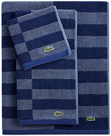 "Lacoste Offset Cotton Stripes 13"" x 13"" Wash Towel"