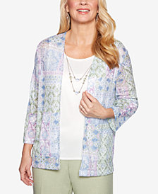 Alfred Dunner Petite Southhampton Floral-Print Layered-Look Necklace Top