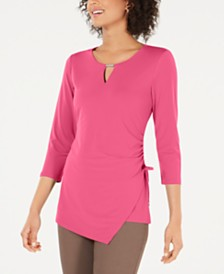 JM Collection Petites Ruched Asymmetrical Top, Created for Macy's